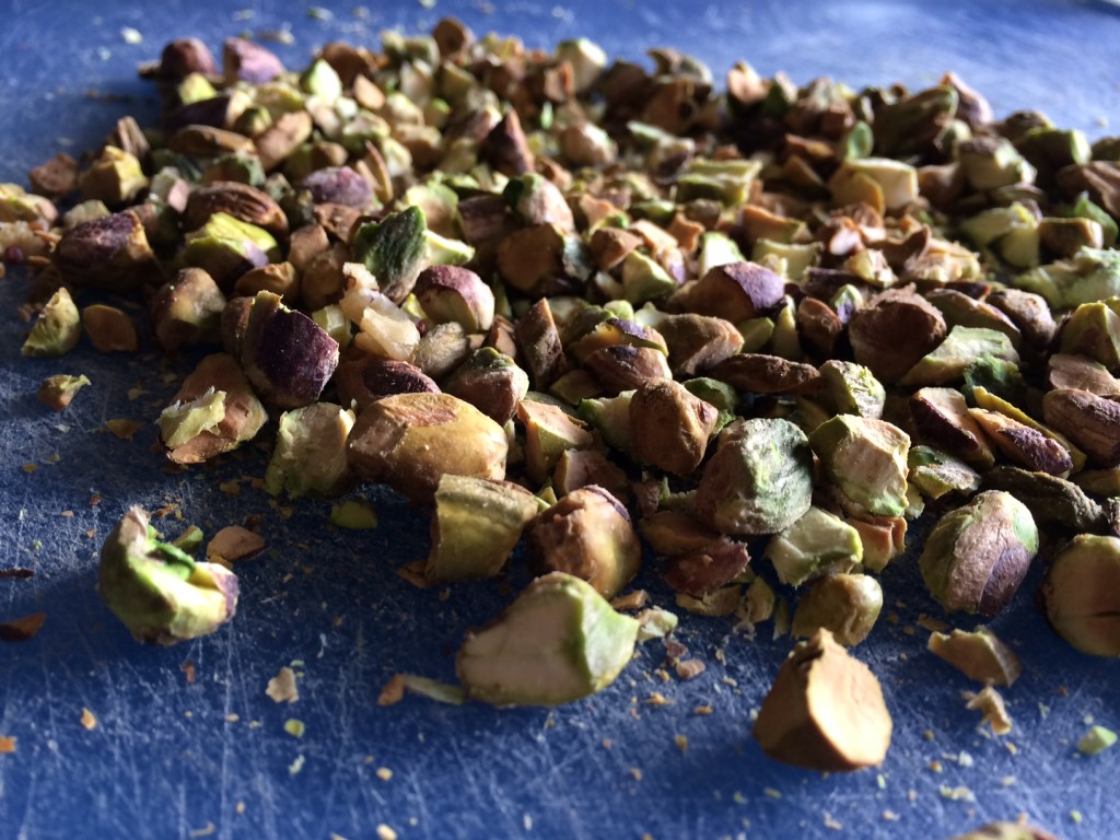 Chopped and roasted pistachios.