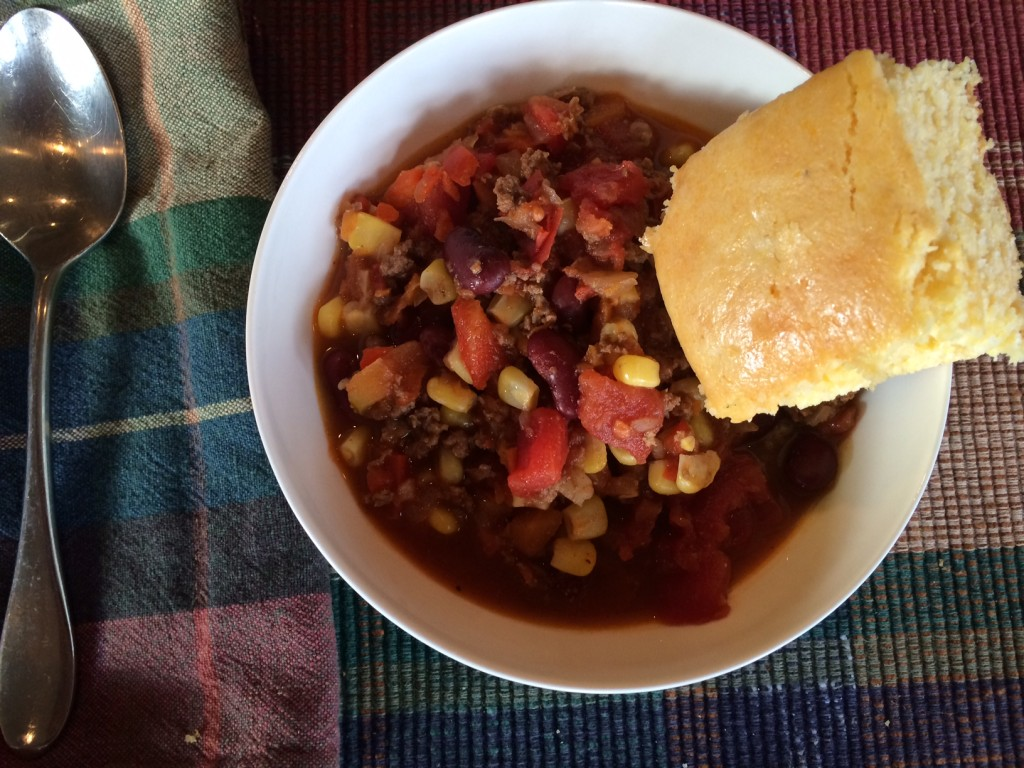 Chili with cornbread.