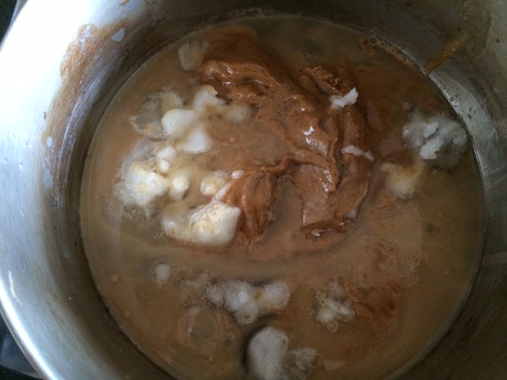 Nut butter, syrup, agave and coconut oil starting to melt.