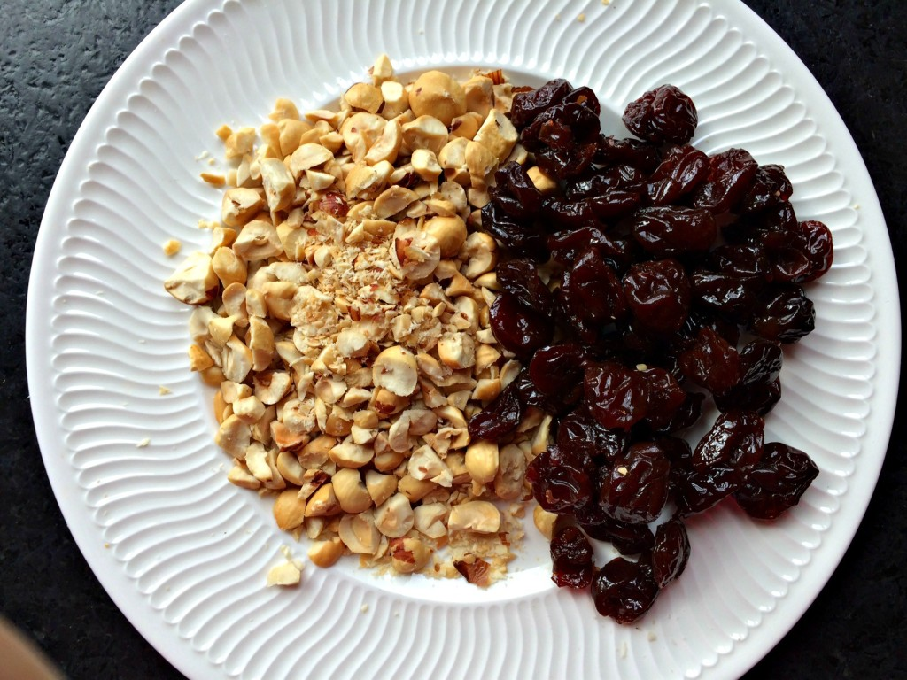 Chopped hazelnuts and dried cherries.