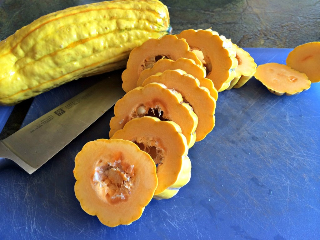 Sliced delicata squash.